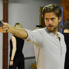 Aaron Tveit as John Wilkes Booth. Photo by Nobby Clark