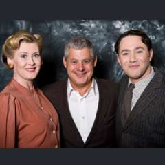 Stars of Betty Blue Eyes, Sarah Lancashire and Reece Shearsmith, with producer Cameron Mackintosh (centre)