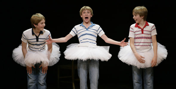 James Lomas, George Maguire and Liam Mower at the curtain call of Billy Elliot in 2005 (photo David Scheinmann)