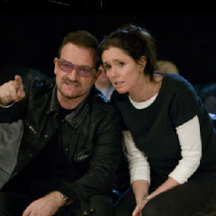 Julie Taylor and Bono at an early rehearsal for Spider-Man, many months ago