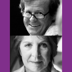 David Hare and Penelope Wilton, speaking at the National Theatre