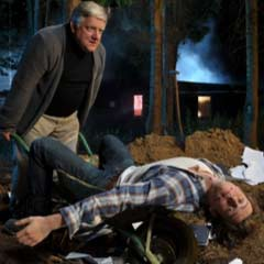 Jonathan Groff and Simon Russell Beale in Deathtrap