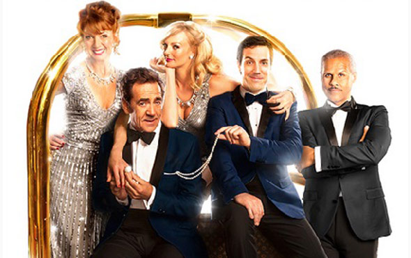 Alex Gaumond and the lead cast of Dirty Rotten Scoundrels at the Savoy Theatre