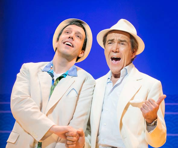 Alex Gaumond and Robert Lindsay in Dirty Rotten Scoundrels at the Savoy Theatre