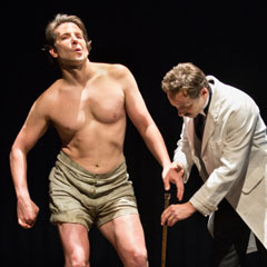 Bradley Cooper (left) in The Elephant Man on Broadway