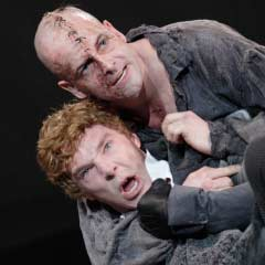 Jonny Lee Miller and Benedict Cumberbatch in the National Theatre's Frankenstein