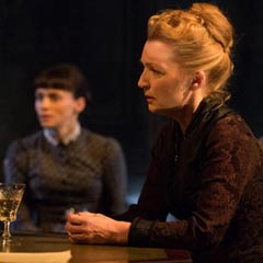 Charlene McKenna (Regina Engstrand) and Leslie Manville (Helene Alving) in Ghosts. Photo: Hugo Glendinning
