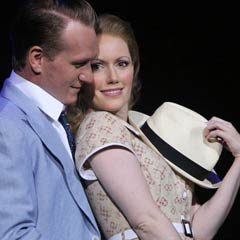 Clare Foster as Sarah Brown and Jamie Parker as Sky Masterson in Guys and Dolls. Photos by Roy Tan