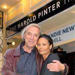 Ariel Dorfman and Thandie Newton in front of the newly named Harold Pinter Theatre
