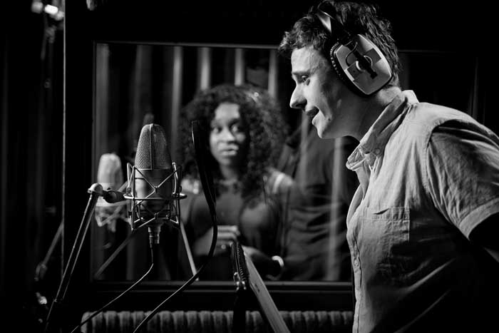 BEHIND-THE-SCENES: 'Max' (Alan Morrissey) and 'Chenice' (Cynthia Erivo) recording