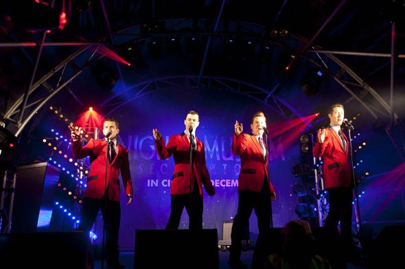 The cast of Jersey Boys performing on Regent's Street last night