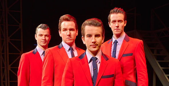 Edd Post (Bob), Jon Boydon (Tommy), Michael Watson (Frankie) & Matt Nalton (Nick) in JERSEY BOYS. Photo: Brinkhoff & Mögenburg