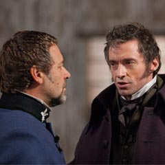 Russell Crowe and Hugh Jackman in Les Miserables - The Movie