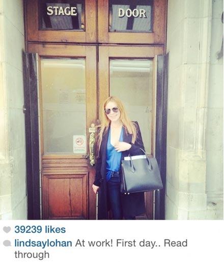 Lindsay Lohan posting on Instagram in London