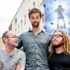 Dennis Kelly, Craige Els and Tim Minchin outside Matilda The Musical at the Cambridge Theatre