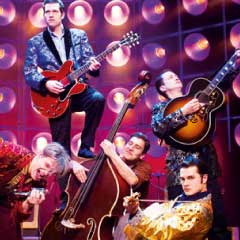 Ben Goddard (Jerry Lee Lewis), Robert Britton Lyons (Carl Perkins), Gez Gerrard (Jay Perkins/Bass), Derek Hagen (Johnny Cash) & Michael Malarkey (Elvis Presley) in Million Dollar Quartet. Photo: Helen Maybanks