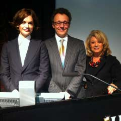 Actresses Ruth Wilson (L) and Elaine Paige, with President of the Society of London Theatre, Mark Rubinstein