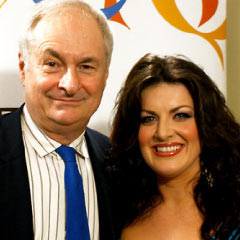Paul Gambaccini and Jodie Prenger, hosts of the BBC Radio 2 Olivier Awards coverage