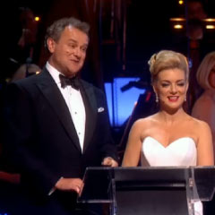 Olivier hosts Hugh Bonneville and Sheridan Smith