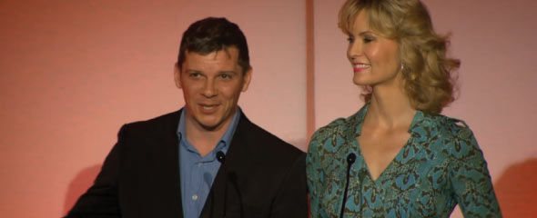 Nigel Harman and Leigh Zimmerman present the nominations for the 2014 Olivier awards