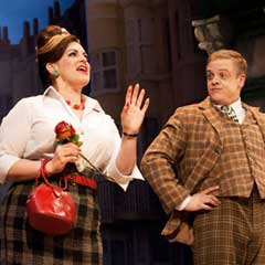 Owain Arthur and Jodie Prenger in One Man, Two Guvnors at the Theatre Royal Haymarket