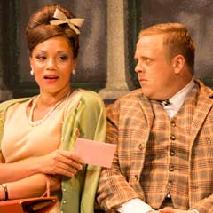 Dolly (Angela Griffin) and Francis (Owain Arthur) in One Man, Two Guvnors. Photo by Johan Persson