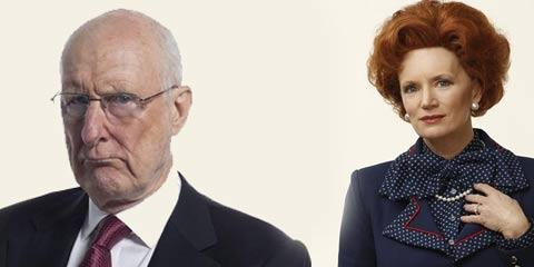 James Cromwell as Rupert Murdoch and Jane Turner as Margaret Thatcher in Rupert