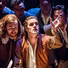 Tom Bateman and the cast of Shakespeare in Love at the Noel Coward Theatre. Photo: Johan Persson