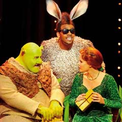 Richard Blackwood, Nigel Lindsay and Amanda Holden in Shrek The Musical