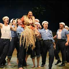Loretta Ables Sayre and company of the Broadway production of South Pacific