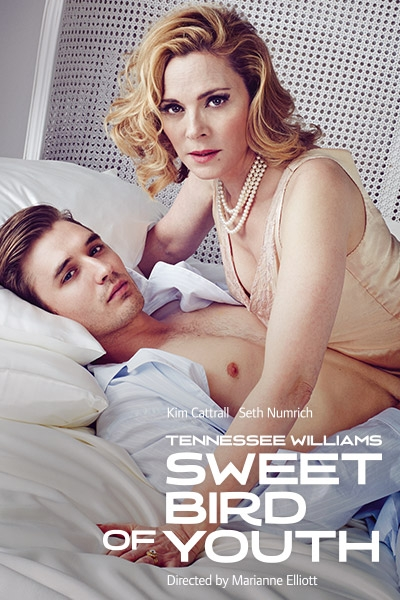 The poster for Sweet Bird of Youth at the Old Vic Theatre starring Kim Cattrall and Seth Numrich
