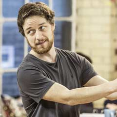James McAvoy in rehearsals for The Ruling Class. Photo: Marc Brenner