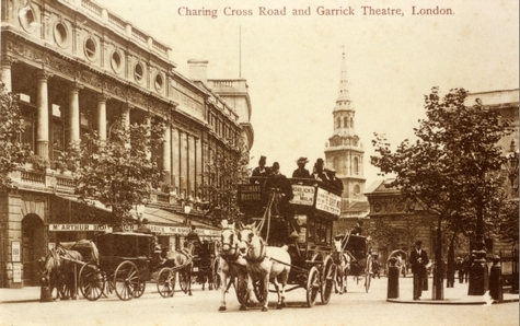 Streetscape showing The Garrick Theatre, London, 1902 (Theatres Trust: http://www.theatrestrust.org.uk/resources/images/show/65-streetscape-showing-the-garrick-theatre-london-1902)