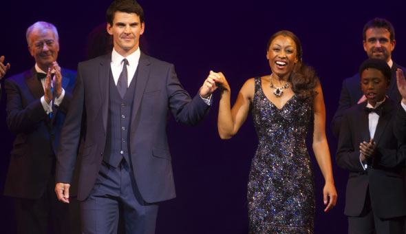 Tristan Gemmill (Frank Farmer) and Beverley Knight (Rachel Marron) at the Curtain Call for The Bodyguard. Photo: Dan Wooller