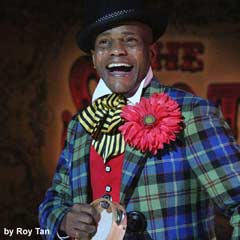 Forrest McClendon as Mr Tambo in The Scottsboro Boys at the Garrick Theatre. Photo: Roy Tan