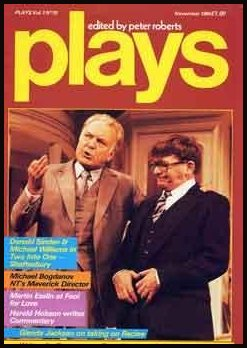 Donald Sinden and Michael Williams in Two Into One at the Shaftesbury Theatre in 1984 - on the front cover of Plays magazine