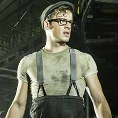 Matthew Seadon-Young as Bobby Strong in Urinetown at the Apollo Theatre. Photo: Johan Persson