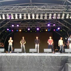 The cast of Jersey Boys do a sound check on the West End Live stage in Trafalgar Square ahead of this weekend's event