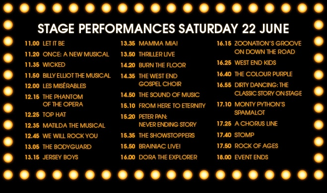 West End Live 2013 - Timetable for Saturday
