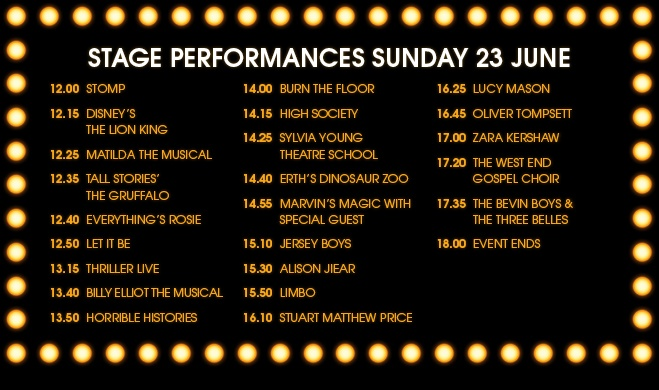 West End Live 2013 - Timetable for Sunday
