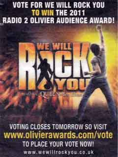 Recent press advertising for We Will Rock You