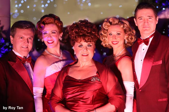 The cast of White Christmas performing at the launch. Photo montage courtesy of Roy Tan