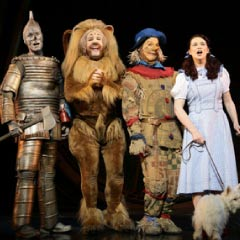 The Wizard of Oz cast, left - right Edward Baker-Duly, David Ganly, Paul Keating and Danielle Hope